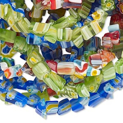 "Three 35"" Strands Millefiori Glass Chip Beads ~ 3-5mm Chips"