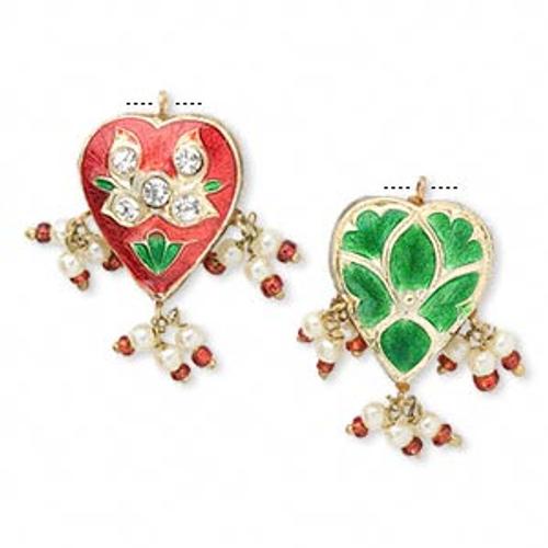 1 Gold Plated Red & Green Minakari Heart Drop Charms ~ 32x18mm *