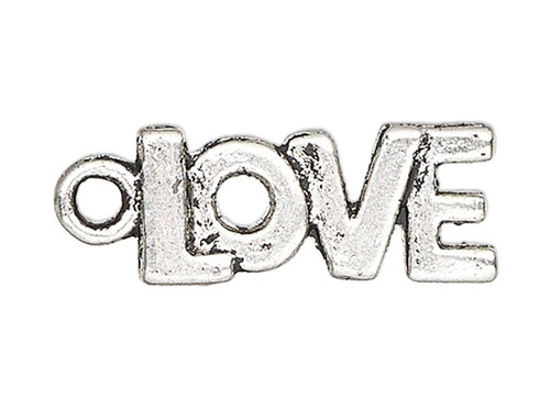 20 Antiqued Silver Finished Pewter 17x8mm LOVE Word Charms