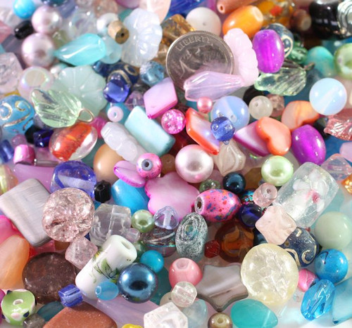 1/2 Pound Transparent & Opaque Multi Glass & Shell Beads Value Mix *