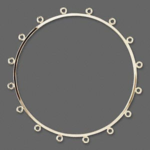 1 Gold Plated Brass Bangle Bracelet Base with 16 Closed Loops for Beading *