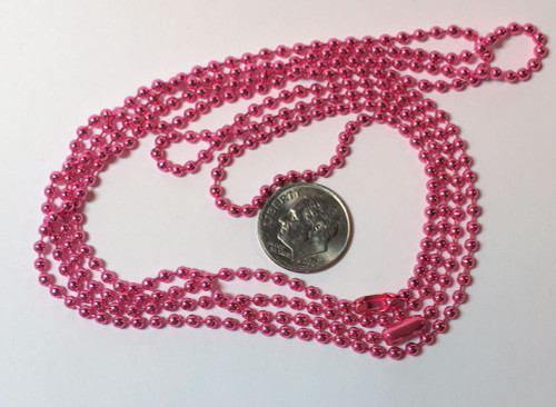 """2 Bright Metallic Pink 24"""" Ball Chain Necklaces with 8 Closures"""