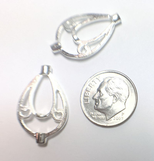 4 Silver Plated Teardrop Bead Holders ~ 16x 2mm for 5mm Beads  *