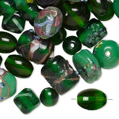 100 Grams  Lampwork Glass Dark Green Bead Mix