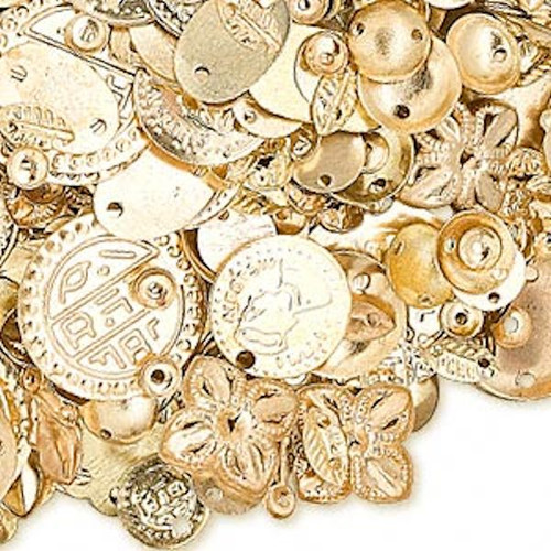 100 Grams Gold Plated Brass Component Mix with Approximately 585-600 Pieces  *