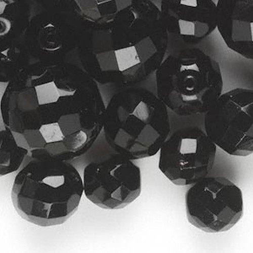 1/4 lb Czech Pressed Glass Jet Black Faceted Bead Mix ~Multi Shapes *