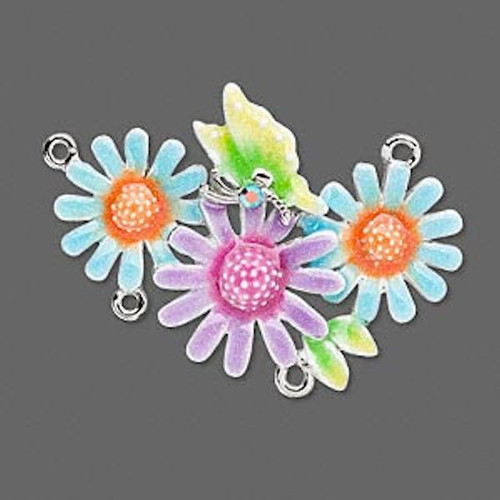 1 Imitation Rhodium 3 Flowers & Butterfly Connector  ~ 44x32mm *