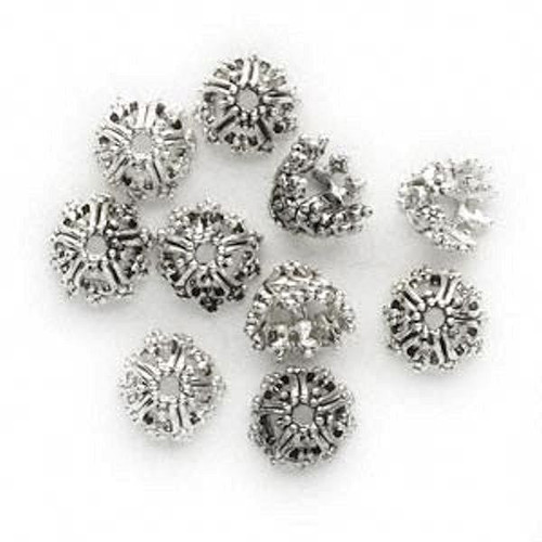 10 Antiqued Silver Pewter Round Filigree Heart Design Bead Caps ~ Fits 6-8mm Beads *