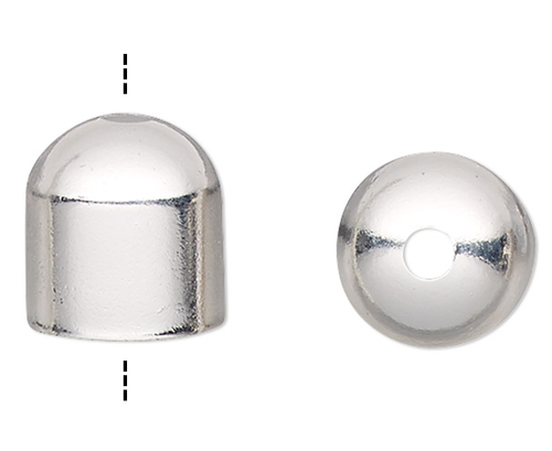 10 OR 100 Silver Plated  8x6mm Cord End Caps with Hole 7mm Inside
