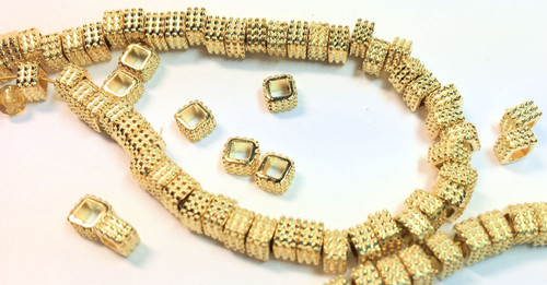 1 Strand Gold Plated Brass 5x3mm Textured Square Beads  *