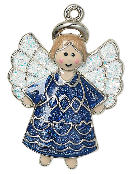 1 Silver Plated Pewter 23x18mm Blue Sparkling Angel Charm