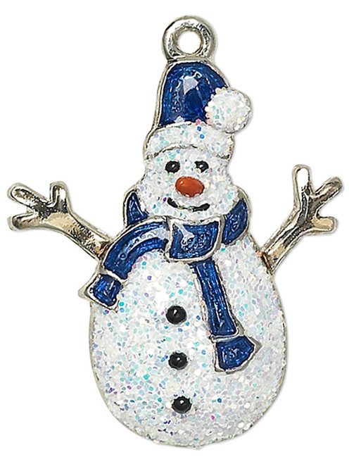 1 Silver Finished Pewter 22.5x19mm Blue Sparkling Snowman Charm