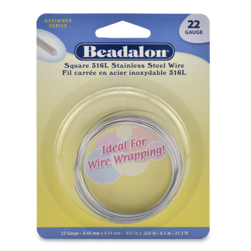 21.3 Feet 316L Stainless Steel 22 Gauge Square Wrapping Wire