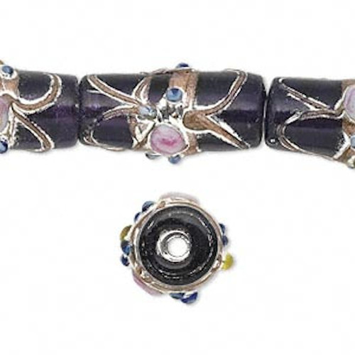 12 Lampwork Glass Tube PURPLE with Metallic Accent Beads ~ 22x11mm