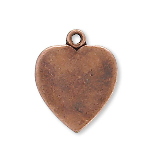 10 Antiqued Copper Plated Brass 11x10mm Heart Drop Stamping Blank Charms