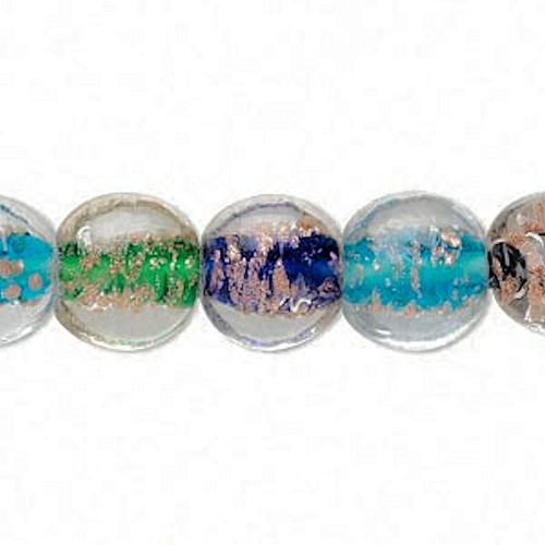 1 Strand Lampwork Glass Multi Color 12mm Puffed Flat Round Beads