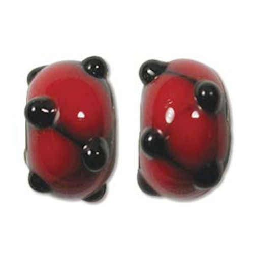 1 Strand Lampwork Glass Black & Red Bumpy Lattice Rondelle Beads ~  9x14mm *