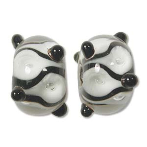 1 Strand Lampwork Glass Black White & Clear Bumpy Lattice Rondelle Beads ~  9x14mm *