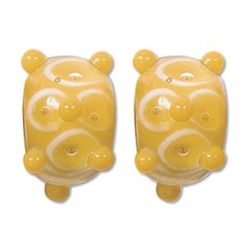 1 Strand Lampwork Glass Yellow & Clear Bumpy Lattice Rondelle Bead ~  9x14mm *