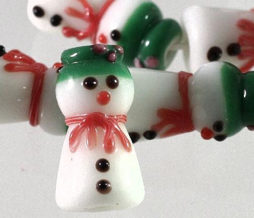 1 Strand Lampwork Glass 12x25mm White SnowMan Beads ~ Winter Snow Man *