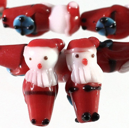 1 Stand Lampwork Glass 12x29mm Santa Claus with Gift Beads  *