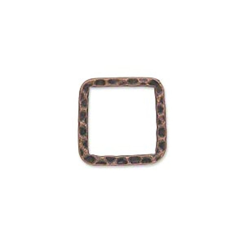 10 Antiqued Copper Plated Steel Hammered Square Links ~ 16x16mm