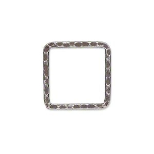 10 Antiqued Silver Plated Steel Hammered 20x20mm Square Links *