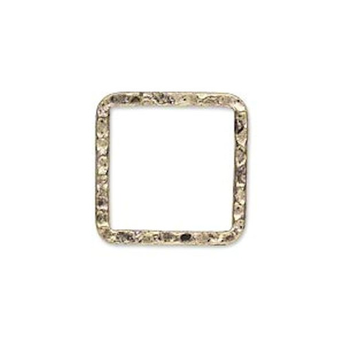 10 Antiqued Gold Plated Steel Hammered Square Links ~ 20x20mm