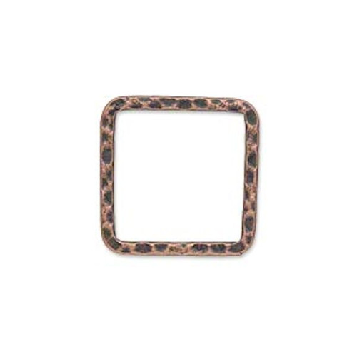 10 Antiqued Copper Plated Steel Hammered Square Links ~ 20x20mm