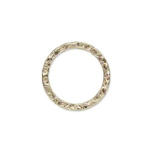 10 Antiqued Gold Plated Steel Hammered Round Links ~ 20mm