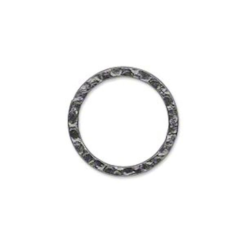 10 Gunmetal Plated Steel Hammered Round Links ~ 20mm