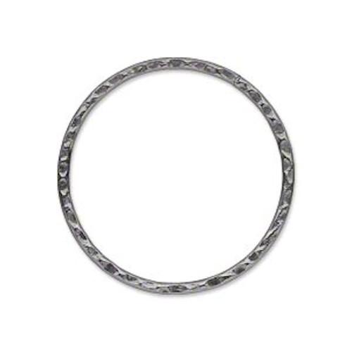 10 Gunmetal Plated Steel Hammered Round Links ~ 30mm