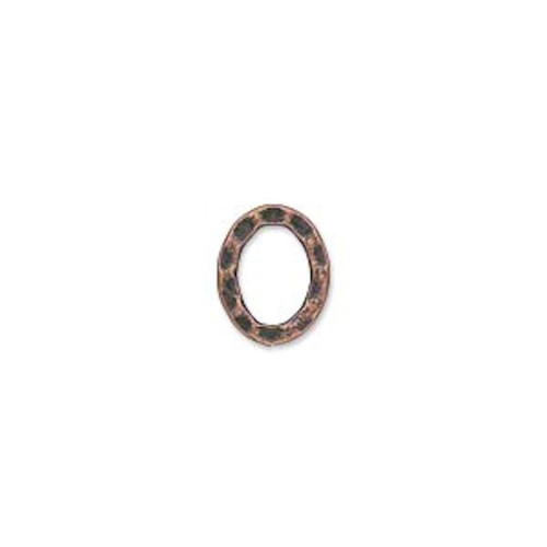 12 Antiqued Copper Plated Steel 12x10mm Hammered Oval Links *
