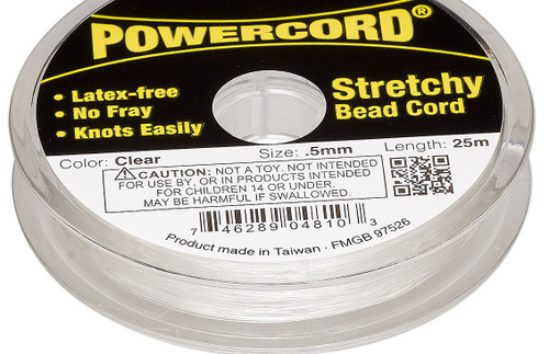 25 Meter Spool Clear No Fray Elastic 0.5mm POWERCord with 4 Pound Test