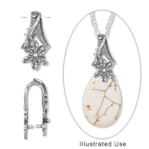 1 Antiqued Sterling Silver 17x8mm Flower Ice Pick Bail For Pendants
