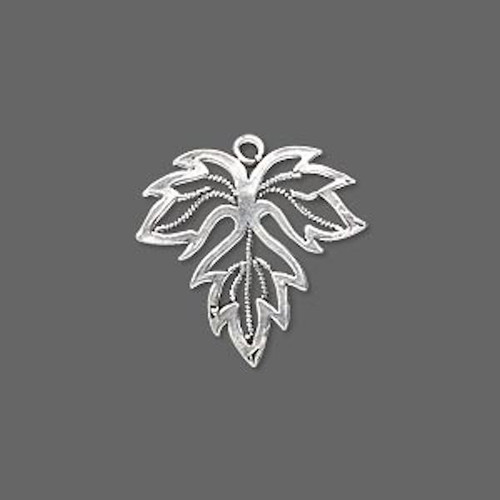 1 Antiqued Sterling Silver Maple Leaf Charm Drop ~  19x20mm  *