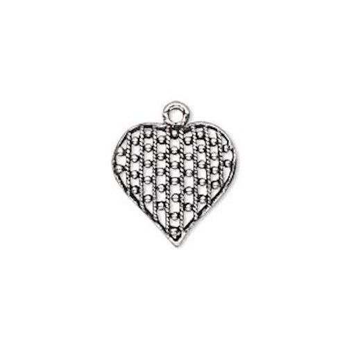 1 Antiqued Sterling Silver Domed Filigree Heart Charm Drop ~  15x15mm  *