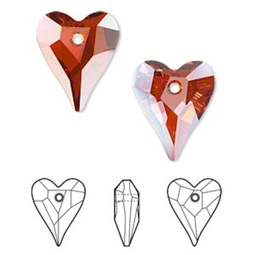 1 Swarovski Red Magma Faceted 17x14mm Wild Heart Crystal Pendants  (6240)