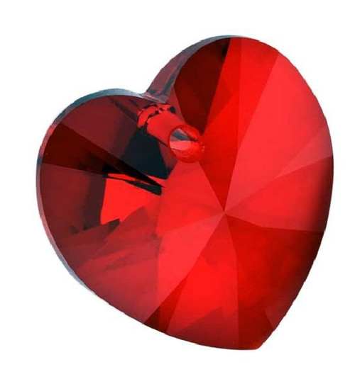 2 Swarovski Faceted Xilion Siam Red 10x10mm Heart Crystal Pendants (6228)
