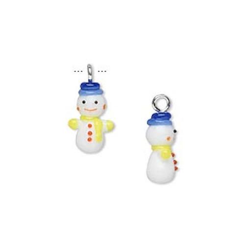1 Mini Christmas Lampwork Glass Charms ~Snowman ~ 13x7mm *