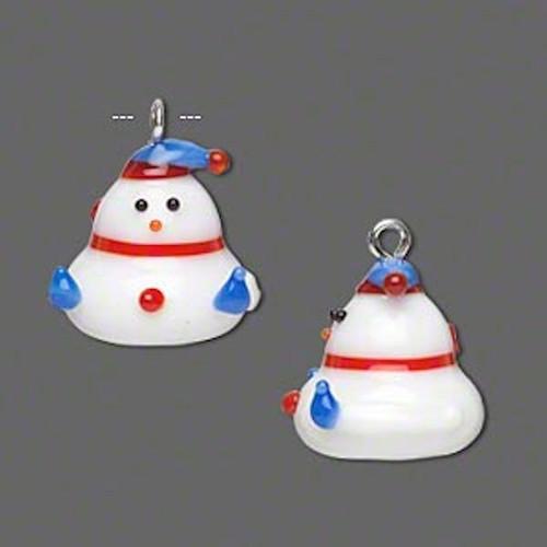 1 Small Christmas Lampwork Glass 15x14mm Snowman Charm  *
