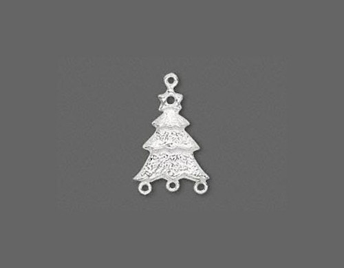 1 Sterling Silver  24x15mm Textured Christmas Tree Link Connector *