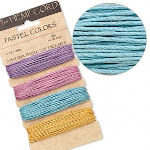 120 Foot Set Smooth 1mm Hemp Cord Assorted Pastel Mix with 20lb Test