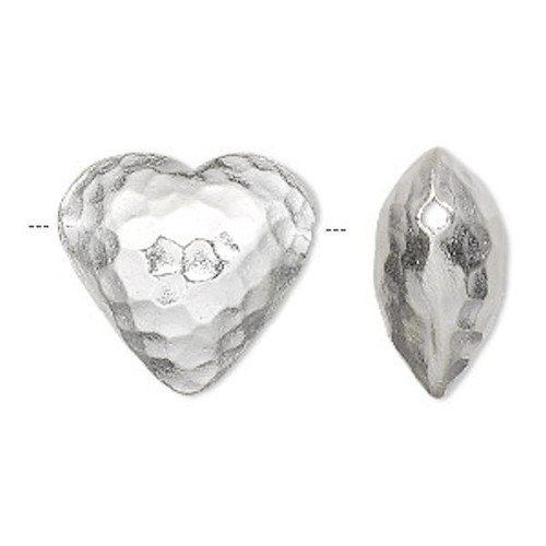 1 Sterling Silver Puffy Double Sided Hammered Heart Bead  ~ 20x19mm *