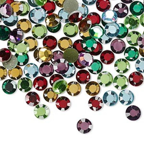 144 Hot Fix 3.9-4mm Flatback Round Crystals SS16 Assorted Colors *