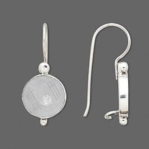1 Pair Antiqued Sterling Silver 24mm 20 Gauge Fishhook with Flower Earwires