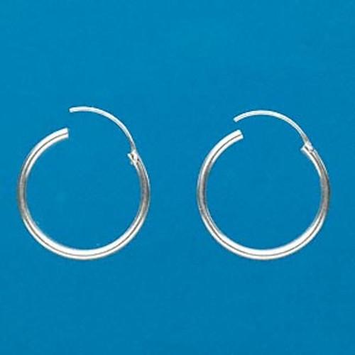 1 Pair .925 Sterling Silver 25x2mm Round Hoop Earrings *