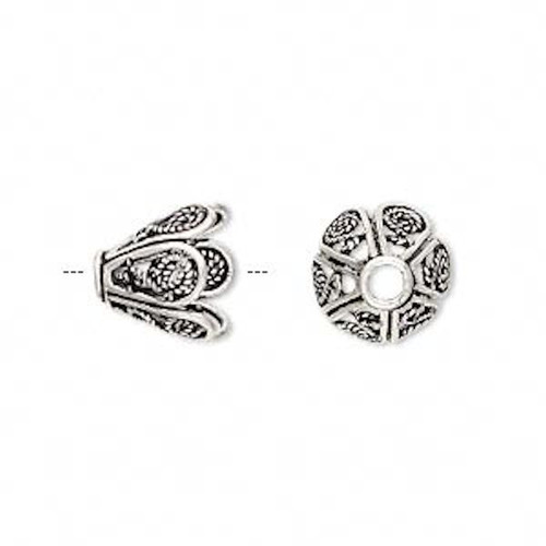 1 Antiqued Sterling Silver 10x11mm Flower Bead Cap to Fit 10mm Bead *