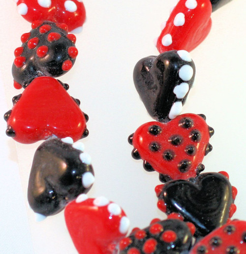 1 Strand Lampwork Glass Red White & Black Polka Dot 16x20x8mm Heart Beads  *