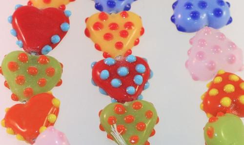 1 Strand Lampwork Glass Multi Color Polka Dot 16x20x8mm Heart Beads  *